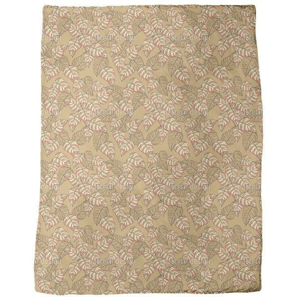Birch Leaf Beige Fleece Blanket