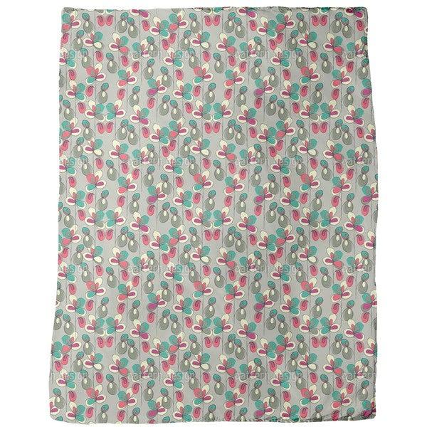 Lucky Flowers Grey Fleece Blanket