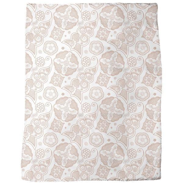 Floriental Brown Fleece Blanket