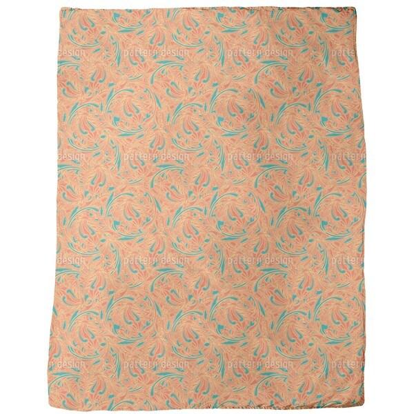 Copper Engraving Orange Fleece Blanket