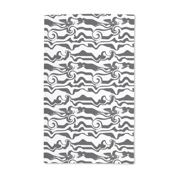 Monochrome Wave Chaos Hand Towel (Set of 2)