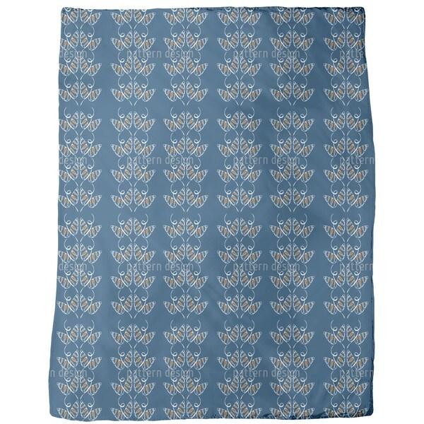 Attracting Butterflies in Blue Fleece Blanket