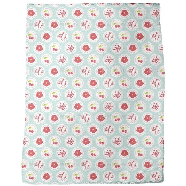 Granny's Cherry Garden Blue Fleece Blanket
