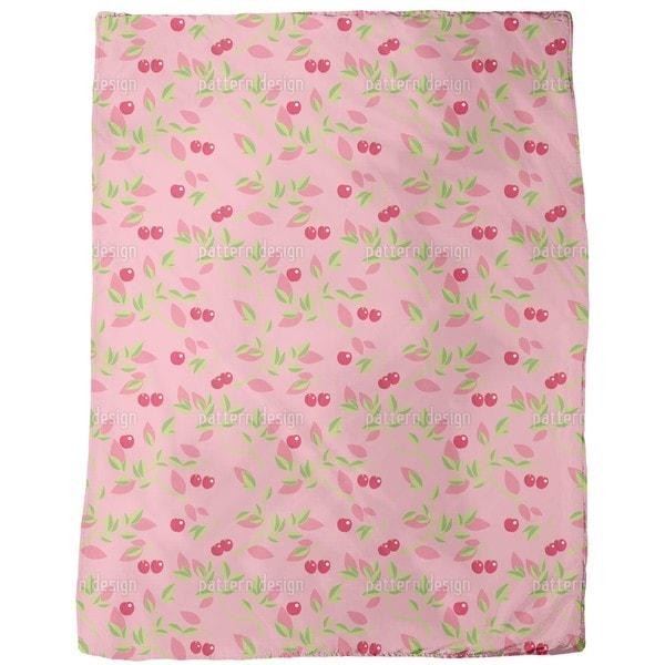 Cherry Branches Pink Fleece Blanket