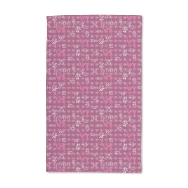 Daisy Flowers Purple Hand Towel (Set of 2)