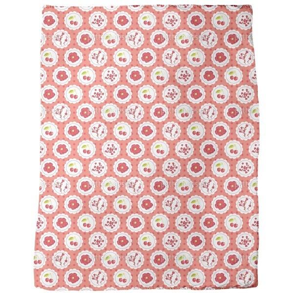 Granny's Cherry Garden Red Fleece Blanket