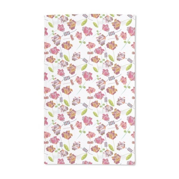 Flowers From Peru White Hand Towel (Set of 2)