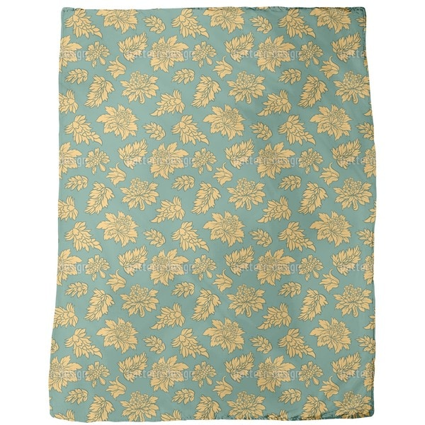 Baroque Bloom Green Fleece Blanket