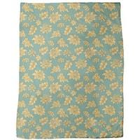 Baroque Bloom Green Fleece Blanket