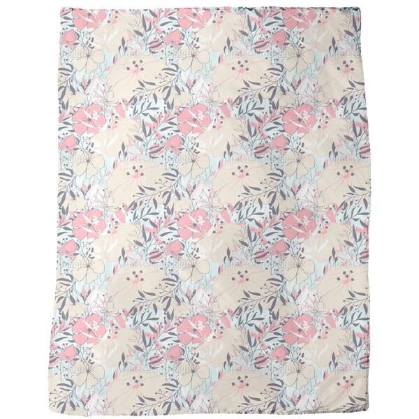 Vintage Flower Splendor Fleece Blanket