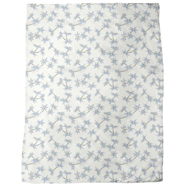 Blue Rain Flowers Fleece Blanket