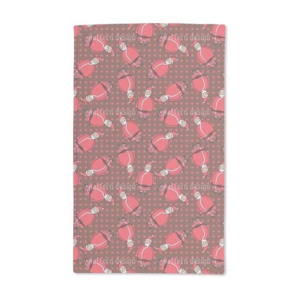 Dotty Santa Brown Hand Towel (Set of 2)