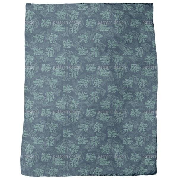 Acacia Leaves Blue Fleece Blanket