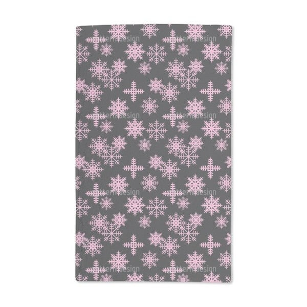Ice Crystals Black Hand Towel (Set of 2)
