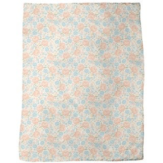 Vintage Rose Garden Fleece Blanket