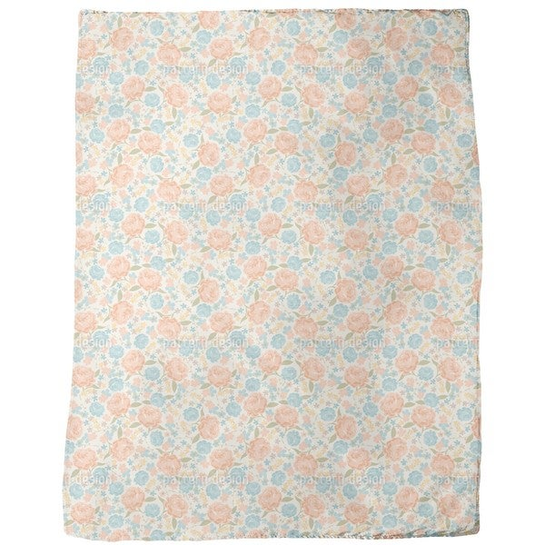 Vintage Rose Garden Fleece Blanket