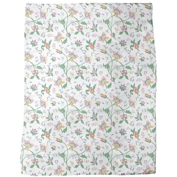 Shop Little Flower Fantasy White Fleece Blanket Free Shipping