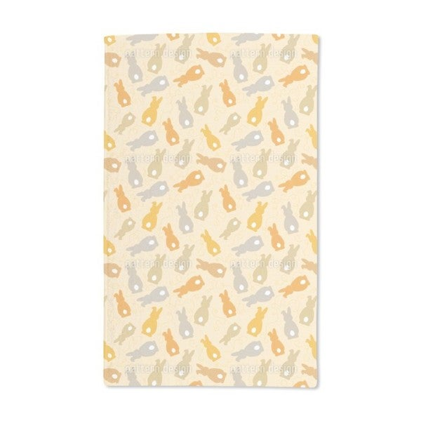 Bouncing Bunnies Yellow Hand Towel (Set of 2)