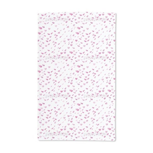 Hearty Rain on Valentines Day Hand Towel (Set of 2)