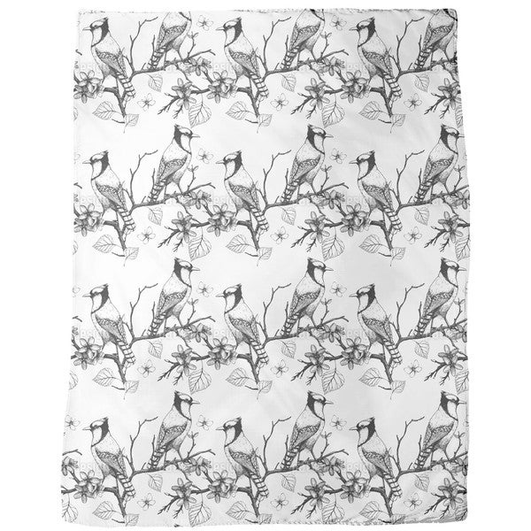Birds on Branches Fleece Blanket
