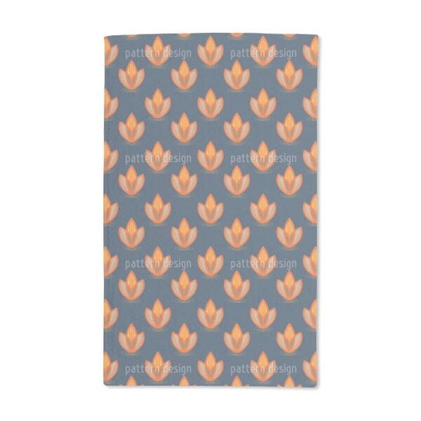 Lotus Orange Hand Towel (Set of 2)