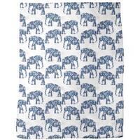 Patchwork Elephant Fleece Blanket