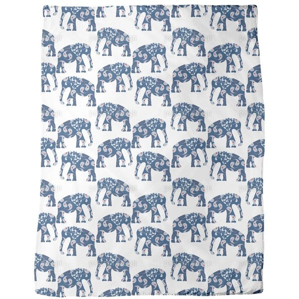 Patchwork Elephant Fleece Blanket