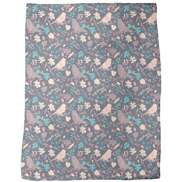 Birds Behind Floral Thicket Fleece Blanket