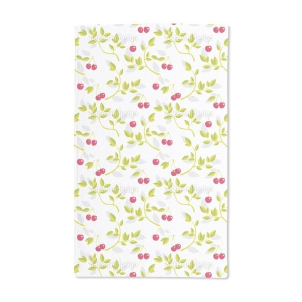 Cherry Branches White Hand Towel (Set of 2)