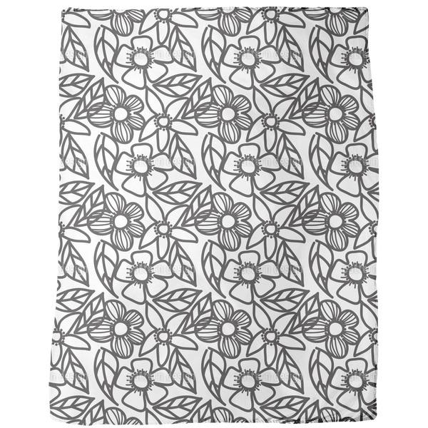 Flower Doodles Black and White Fleece Blanket