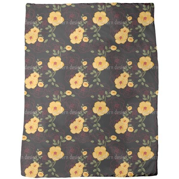Yellow Rambler Roses Fleece Blanket