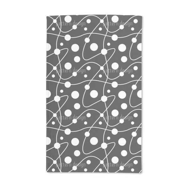 Circular Rounds Black and White Hand Towel (Set of 2)