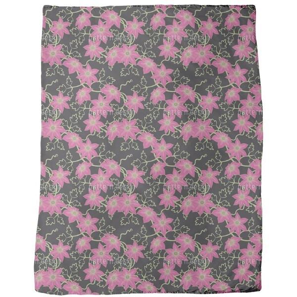 Clematis Dream Garden at Night Fleece Blanket