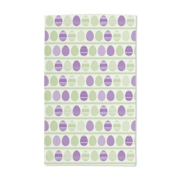 Green Easter Egg Stripes Hand Towel (Set of 2)