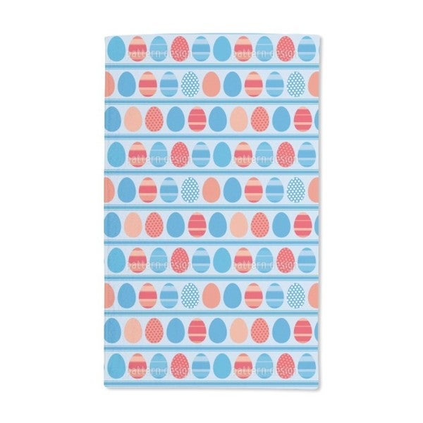 Blue Easter Egg Stripes Hand Towel (Set of 2)