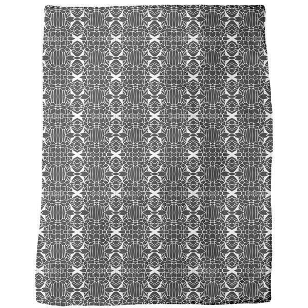 Free Form Black and White Fleece Blanket
