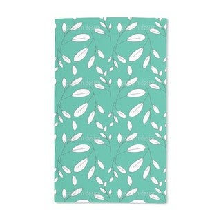 White Leaves Hand Towel (Set of 2)