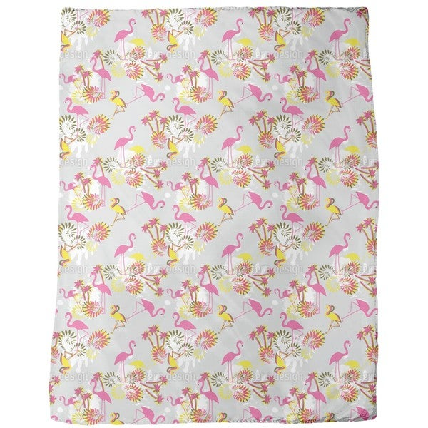Miami Pink Flamingo Fleece Blanket