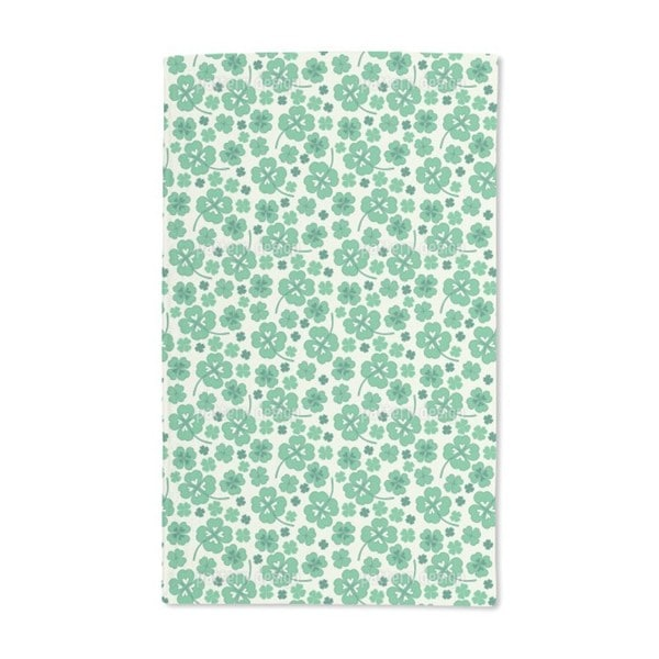 Lucky Clover on White Hand Towel (Set of 2)