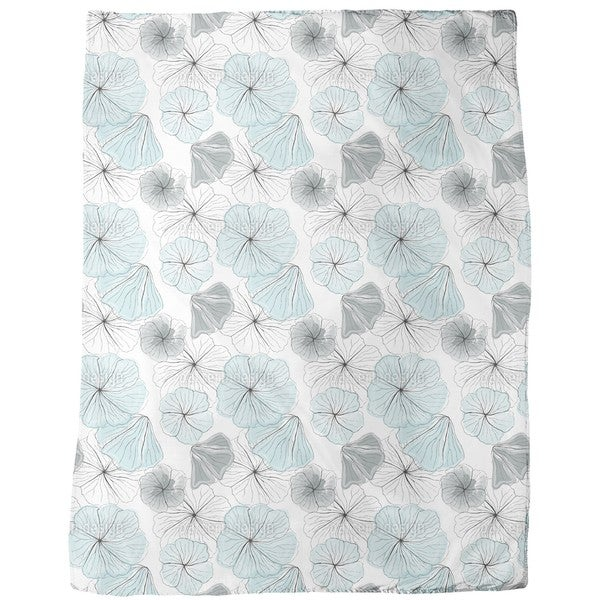 Hibiscus Blossoms Aqua Fleece Blanket