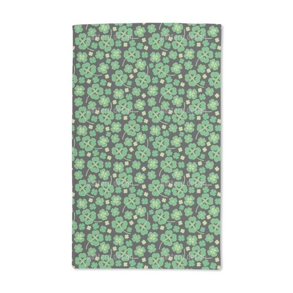 Lucky Clover on Black Hand Towel (Set of 2)