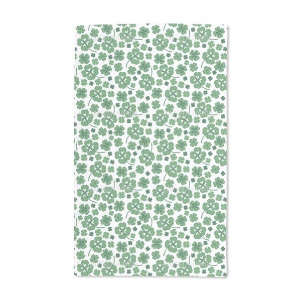 Lucky Clover White Hand Towel (Set of 2)