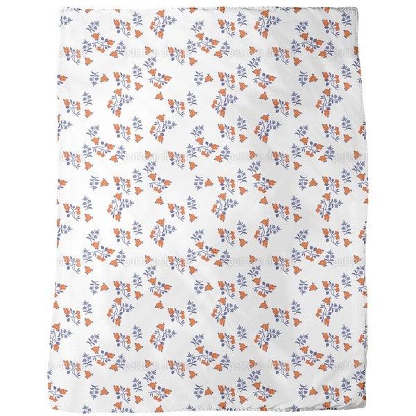 Mille Fleurs on White Fleece Blanket