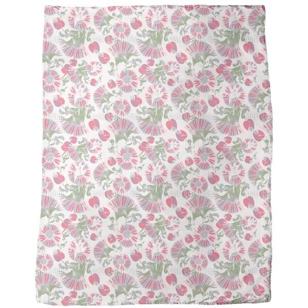 Geometric Summer Flowers Fleece Blanket