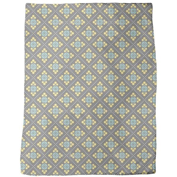 Retro Patchwork Flowers Fleece Blanket