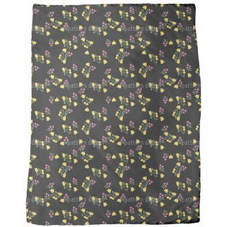 Scattered Flowers on Black Fleece Blanket