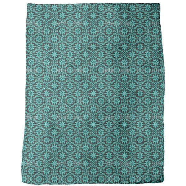All Over Turquoise Flowers Fleece Blanket