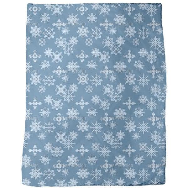 Ice Crystals Blue Fleece Blanket