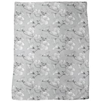 Hibiscus Monochrome Fleece Blanket