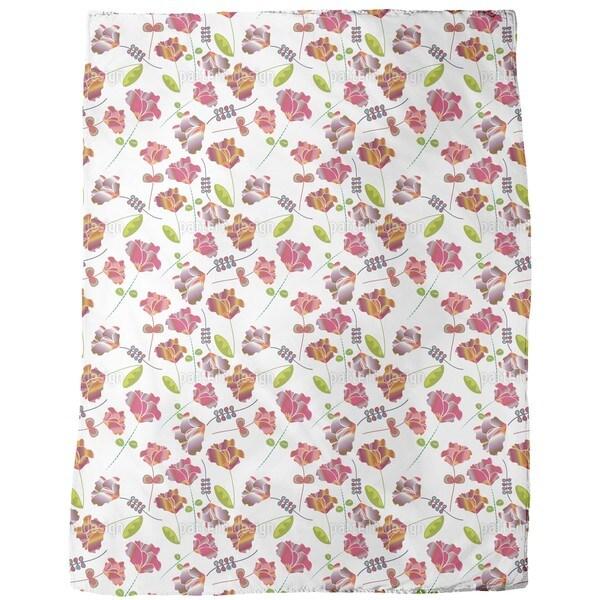 Flowers From Peru White Fleece Blanket